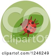 Clipart Of A Round Green Ladybug Icon Royalty Free Vector Illustration