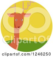 Clipart Of A Round Deer Icon Royalty Free Vector Illustration