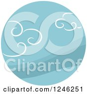 Clipart Of A Round Blue Cloud Icon Royalty Free Vector Illustration