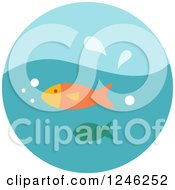 Clipart Of A Round Blue Fish Icon Royalty Free Vector Illustration
