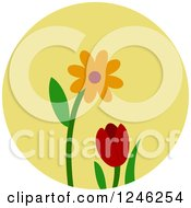 Clipart Of A Round Yellow Flower Icon Royalty Free Vector Illustration