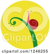 Clipart Of A Round Yellow Snail Icon Royalty Free Vector Illustration