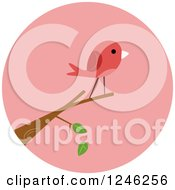 Clipart Of A Round Pink Bird Icon Royalty Free Vector Illustration
