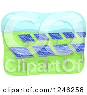 Clipart Of A Solar Energy Farm With Panels Royalty Free Vector Illustration