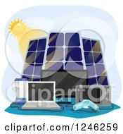 Clipart Of A Sun And Solar Panels Powering Appliances Royalty Free Vector Illustration