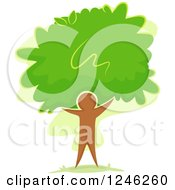 Clipart Of A Tree With Green Foliage And A Brown Man Trunk Royalty Free Vector Illustration