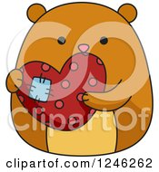 Clipart Of A Hamster Holding A Patched Heart Royalty Free Vector Illustration by BNP Design Studio