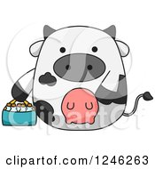Clipart Of A Dairy Cow With A Basket Of Milk Bottles Royalty Free Vector Illustration