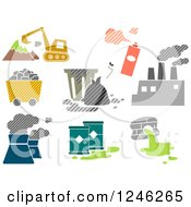 Clipart Of Patterned Biohazard Elements Royalty Free Vector Illustration