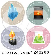 Round Gas Oil Coal And Nuclear Energy Power Icons