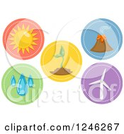 Clipart Of Round Renewable Energy Icons Royalty Free Vector Illustration by BNP Design Studio