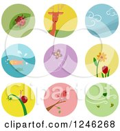 Clipart Of Round Colorful Nature And Wildlife Icons Royalty Free Vector Illustration by BNP Design Studio