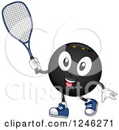 Clipart Of A Squash Ball Holding A Racket Royalty Free Vector Illustration by BNP Design Studio
