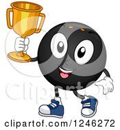 Clipart Of A Champion Squash Ball Holding A Trophy Royalty Free Vector Illustration