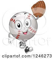 Clipart Of A Baseball Mascot Holding Up A Glove Royalty Free Vector Illustration