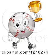 Clipart Of A Champion Baseball Mascot Holding Up A Trophy Royalty Free Vector Illustration