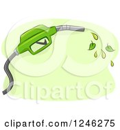 Clipart Of A Green Biofuel Gas Nozzle With Leaves Royalty Free Vector Illustration by BNP Design Studio