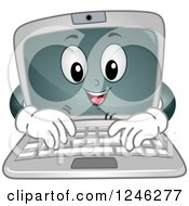 Clipart Of A Cartoon Laptop Computer Character Typing Royalty Free Vector Illustration by BNP Design Studio