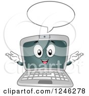 Clipart Of A Cartoon Laptop Computer Character Talking Royalty Free Vector Illustration