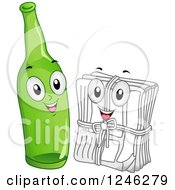 Clipart Of A Recycle Glass Bottle And Stack Of Newspaper Characters Royalty Free Vector Illustration by BNP Design Studio