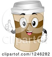 Clipart Of A Happy To Go Coffee Character Holding A Thumb Up Royalty Free Vector Illustration