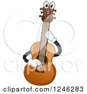Clipart Of A Happy Acoustic Guitar Playing Itself Royalty Free Vector Illustration