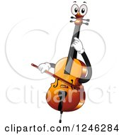 Clipart Of A Cello Character Playing Itself Royalty Free Vector Illustration