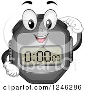 Clipart Of A Stopwatch Character Pushing A Button Royalty Free Vector Illustration by BNP Design Studio