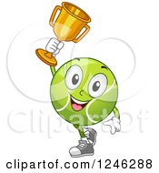 Clipart Of A Tennis Ball Character Holding Up A Trophy Royalty Free Vector Illustration