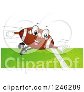 Clipart Of A Flying American Football Mascot Scoring A Touchdown Royalty Free Vector Illustration by BNP Design Studio