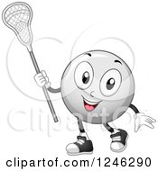 Clipart Of A Lacrosse Ball Mascot Holding A Stick Royalty Free Vector Illustration by BNP Design Studio