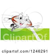 Clipart Of A Flying Rugby Football Mascot Scoring A Touchdown Royalty Free Vector Illustration by BNP Design Studio