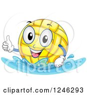 Clipart Of A Floating Water Polo Ball Holding A Thumb Up Royalty Free Vector Illustration by BNP Design Studio