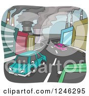 Clipart Of A Road With Cars Through A Polluted City Royalty Free Vector Illustration
