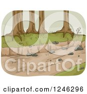 Clipart Of Trees Along A Dried Up River Royalty Free Vector Illustration