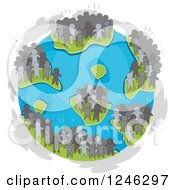 Clipart Of Crowds Of People Standing On Earths Continents Royalty Free Vector Illustration