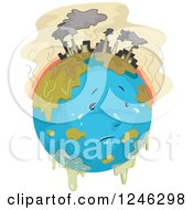 Clipart Of A Depressed Polluted Planet Earth With Factories And Chemicals Royalty Free Vector Illustration
