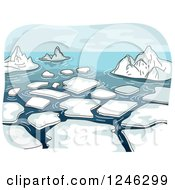 Clipart Of A Landscape Of Melting Ice In The Sea Royalty Free Vector Illustration