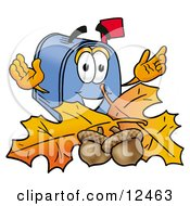 Blue Postal Mailbox Cartoon Character With Autumn Leaves And Acorns In The Fall