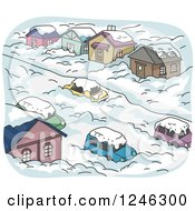 Clipart Of A Street And Homes Burried In Winter Snow Royalty Free Vector Illustration
