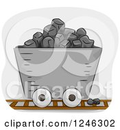 Clipart Of A Mining Cart Filled With Coal Royalty Free Vector Illustration
