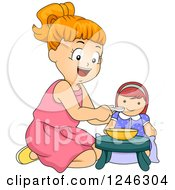 Clipart Of A Happy Red Haired Girl Feeding Her Doll Royalty Free Vector Illustration