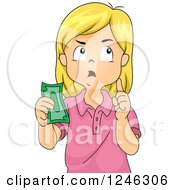 Clipart Of A Blond Caucasian Girl Thinking And Holding Money Royalty Free Vector Illustration