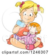 Clipart Of A Happy Blond Caucasian Girl Feeding Her Baby Doll A Bottle Royalty Free Vector Illustration