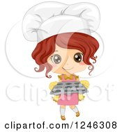 Clipart Of A Cute Toddler Chef Girl Holding A Cupcake Tray Royalty Free Vector Illustration by BNP Design Studio