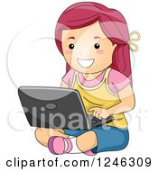 Clipart Of A Happy Caucasian Girl Using A Laptop On The Floor Royalty Free Vector Illustration