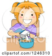 Clipart Of A Happy Caucasian Girl Pouring Milk Into Her Cereal Royalty Free Vector Illustration