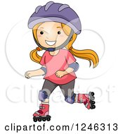 Clipart Of A Happy Girl Roller Blading Royalty Free Vector Illustration