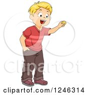 Clipart Of A Blond Caucasian Boy Holding Up A Coin Royalty Free Vector Illustration by BNP Design Studio