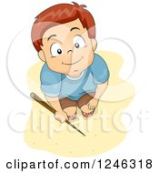 Clipart Of A Boy With A Stick Looking Up On A Beach Royalty Free Vector Illustration